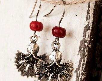Red Carnation Earrings