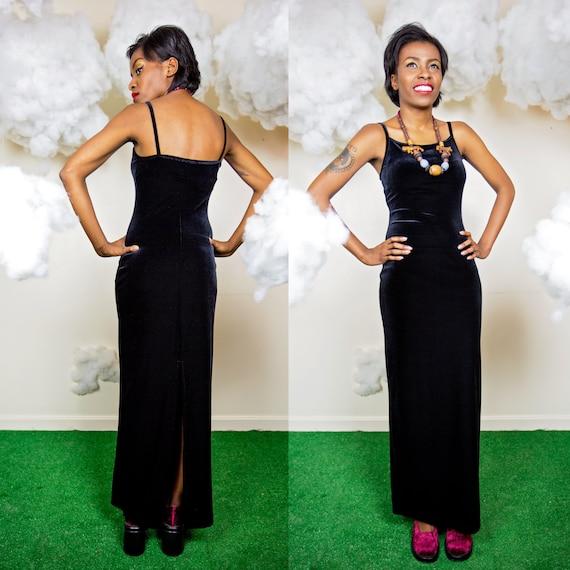 RESERVED long black velvet dress / 90s spaghetti by MoonRevival