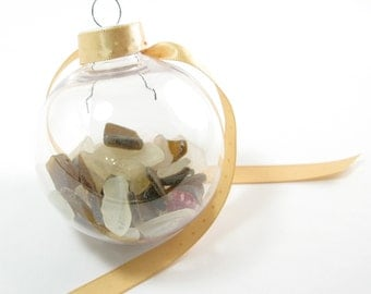 """Brown and White Sea Glass filled Clear Plastic Ball Ornament with Cream Ribbon with Small White Stars on a Silver Swirl Ornament Hook 2"""""""