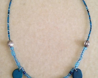 Reversible Teal Blue Tagua Nut Necklace