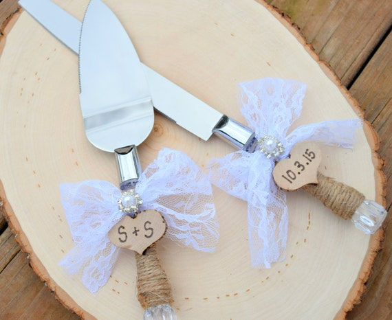 Rustic Cake Serving Set - Personalized Rustic Wedding Cake Cutting and Serving Set - Wedding Cake Set - Serving Set - Wedding Serving Set