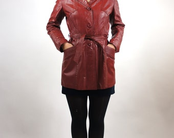 Women's Maroon Leather Blazer Coat Jacket with Belt Size Medium