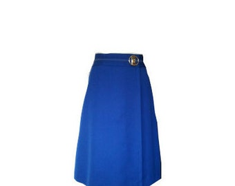 Vintage wrap 1960 60s blue skirt mod twiggy go go S M