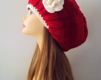 Super Slouchy Beanie with Flower Chunky Red Hat Dreadlock Fashion Accessories