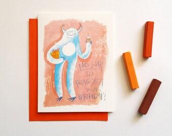 funny birthday card for friends, yeti card, cute funny birthday card for boyfriend, best friend birthday card- monster happy birthday card