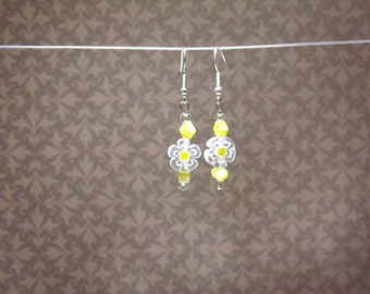 Yellow and White Beaded Flower Earrings