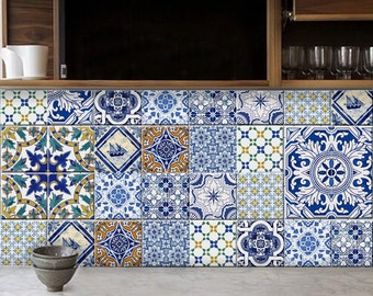 Portuguese style kitchen/bathroom tile / wall decals/ stickers-  44 pcs