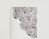 Pocket Notebook Hand Printed Journal Cahier with Linocut Black and White Watermelon Print