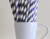 Purple and Black Striped Paper Straws Party Supplies Party Decor Bar Cart Accessories Cake Pop Sticks Mason Jar Straws