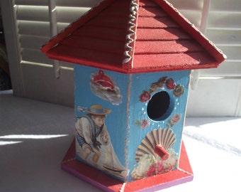 Teal Bird House Red Roof,Decoupaged Wood Birdhouse,Garden or PATIO Decor,VICTORIAN Children Seaside Themed Birdhouse,Ocean Theme
