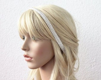 wedding headband, bridal tiara, ivory headband, brides head piece, rhinestone halo, gift for her, hair flowers