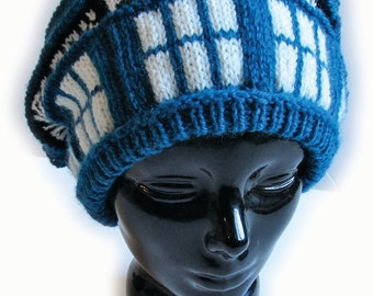 Police Box Slouch Hat Knitting Pattern