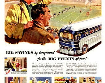 Greyhound 1948 SuperCoach ad, Football Game,Transportation for ALL the Nation, America Travel, POSTER Print