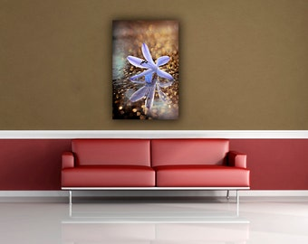 Purple Flower Photograph, Floral Photography, Botanical Fine Art Nature Photo Print, Golden Sparkles Reflection Bokeh Vertical Wall Art