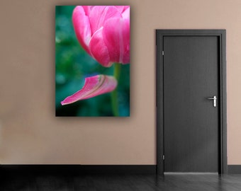 Tulip Flower Photograph, Pink Floral Photography, Close Up Simple Pink and Green Botanical Vertical Wall Art, Fine Art Nature Photo Print