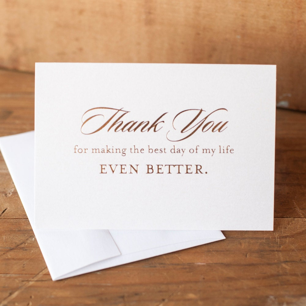Wedding Thank You Card With Gold Foil Wedding Note Cards Foil