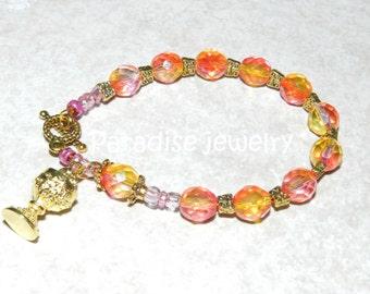 Catholic Rosary Bracelet First Holy Communion IHS Communion Chalice Charm Glass Bead Bracelet Religious Gift For Her Catholic Jewelry
