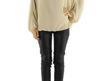Chiffon Top with Bat Sleeves.