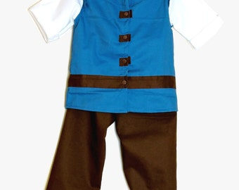 Flynn Rider Costume (2pc set or Top only)  - Rapunzel - Flynn Rider Outfit- Tangled Outfit- Tangled - Rapunzel Prince  Halloween Costume - 1