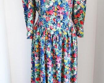 Vintage Floral Dress 1980s Drop Waist Shoulder Pads Midi Dress Floral Green Blue Red UK Size 18 US Size 14
