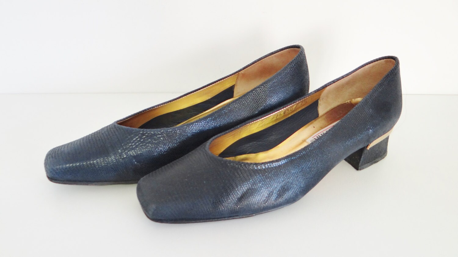 Vintage Leather Shoes By Timothy Hitsman 1960s Navy Blue Mock