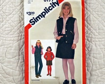 Girls, Pants Skirt Jacket Vest, L, Simplicity 6177 Pattern, Slim, Tapered, Leg Zippers, Front Button or Snap, 1983 Uncut, Size 12