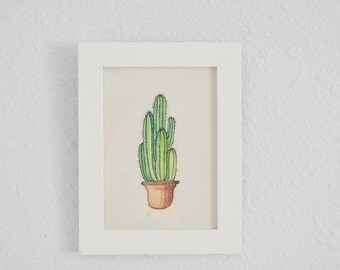 Watercolor Cactus Art Print - 5x7in Framed Art Print on Handmade Paper - Home Decor - Cactus Wall Art - Succulent Art
