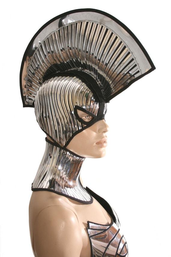 2 piece gladiator spartan mask and mohawk warrior headpiece armor sci fi  futuristic steampunk cyber headdress cybergoth divamp couture