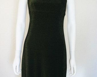 Shimmery  Black & GOLD Metallic Shimmer Dress / 90's women's Clothing