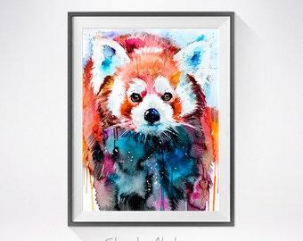 Red panda watercolor painting print, animal watercolor, animal art, animal portrait, Red panda art, Red panda painting, Red panda print