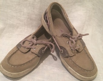 Tan W/ Purple / Blue / & Black Fabric Sperry Top Siders Girl's Size 13.5 M