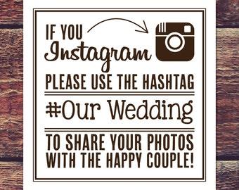 INSTANT DOWNLOAD - Printable Instagram Signs (2 sizes) - Brown Ink - Looks great printed on Kraft Paper!
