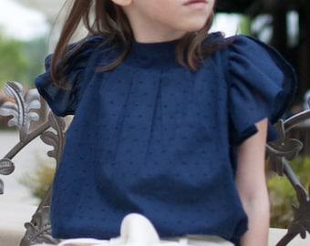 Girl Blouse, cotton voile top, girl nautical top, navy blue shirt, swiss dot top, children clothing, size 1T, 2T, 3T, 4T, 5, 6, 7, 8, 10, 12