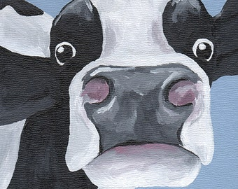 "Dairy Cow Painting, 6x6"" Holstein Cow Painting, Original Dairy Cow Art"