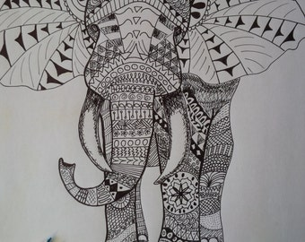 Adult Coloring Page Elephant