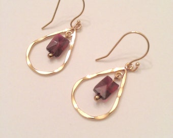 Gold-Filled Teardrop Earrings with Faceted Rectangle Garnet