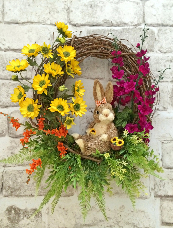 Bunny Spring Wreath Bunny Wreath Front Door Wreath Easter
