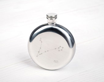 Custom Star Constellation flask | Choose any  Zodiac Constellation | Zodiac themed gifts | Gift ideas for her | Flask for women | 8 oz