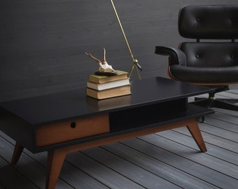 Modern Coffee Table in Black Paint & Caramel Stain - Made to order in your choice of colors