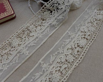 Beige Embroidery Lace, Cotton Floral Lace Trim, Beige Tulle Lace Fabric, 3.1 Inches wide 2 yards