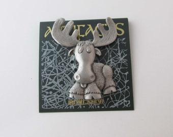 JJ Moose Pewter Brooch Pin Jewellery Fashion Jewelry Vintage 90s