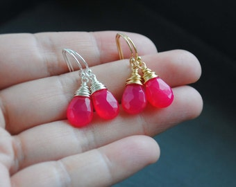Hot Pink Chalcedony Earrings, Hot Pink Earrings, Chalcedony Earrings