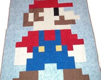 Mario 8 bit gamer quilt, pixel quilt, Super Mario quilt,  made to order!!