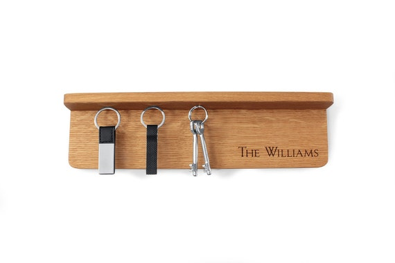 Key Holder For Wall With Shelf In Natural Oak Wood With Free
