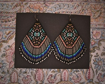 Rising Mountain..Beaded Fringe Earrings