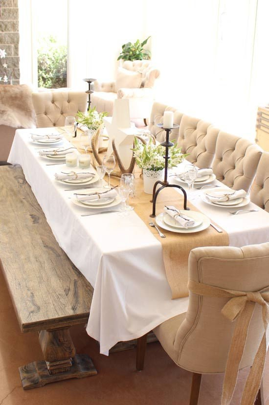 High quality of burlap linen fabric burlap table by for Burlap christmas table decorations