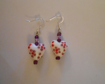 Heart Glass Bead Pair of Earrings Perfect for Valentine's Day Item No. 18