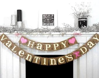 Valentine's Decoration Banner / Happy Valentines Day / Valentine Banner / Valentines Decorations / Valentines Decor / Cupid & Arrow / Rustic