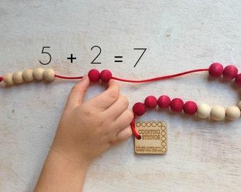 Wooden Counting Beads - Rekenrek - Preschool Bead strings - wood bead abacus - Beadstring