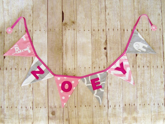Banner in Pink and Grey - Personalized Bunting - Birthday Party Decoration - Name Banner - Pink Bunting - New baby Sign -  photo prop